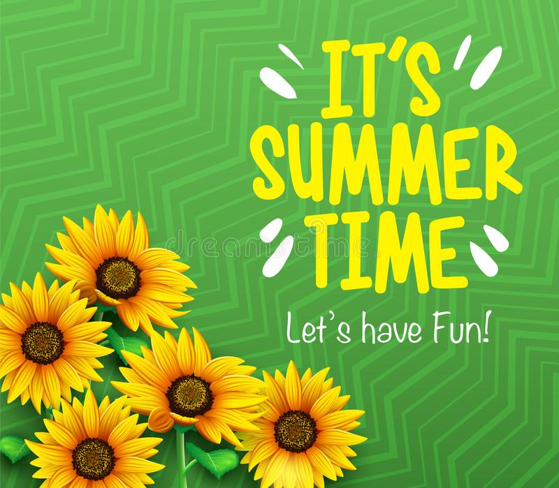 Θερινός χρόνος ` s έδωσε ` s την αφίσα διασκέδασης με τους τρισδιάστατους ηλίανθους στο πράσινο υπόβαθρο κλίσης διανυσματική απεικόνιση
