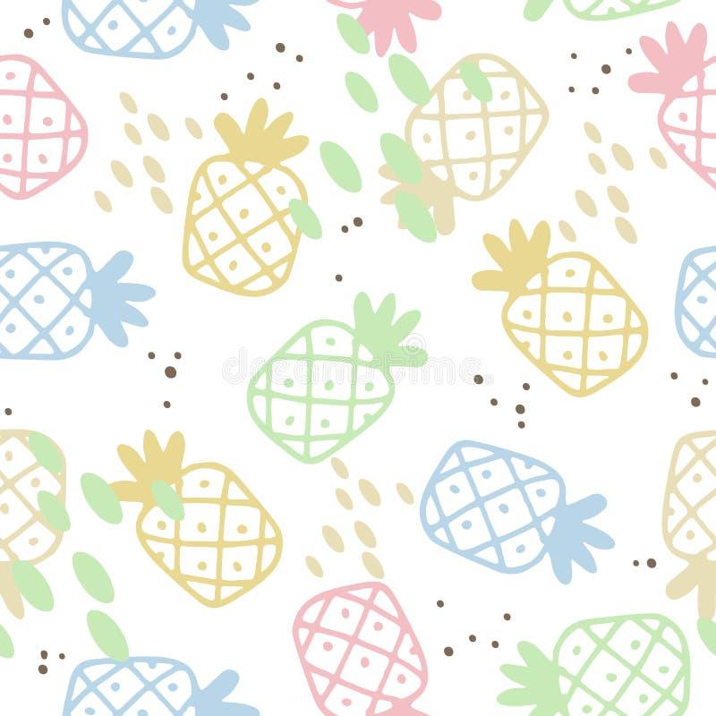 Θερινό άνευ ραφής σχέδιο με συρμένους τους χέρι ανανάδες διανυσματική απεικόνιση