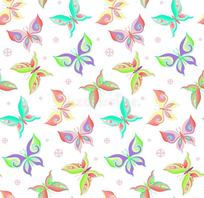 Θερινό άνευ ραφής σχέδιο με τις πεταλούδες απεικόνιση αποθεμάτων