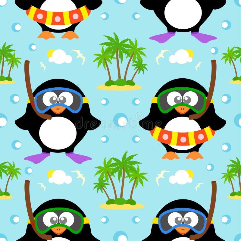 Θερινό άνευ ραφής υπόβαθρο με το penguin ελεύθερη απεικόνιση δικαιώματος