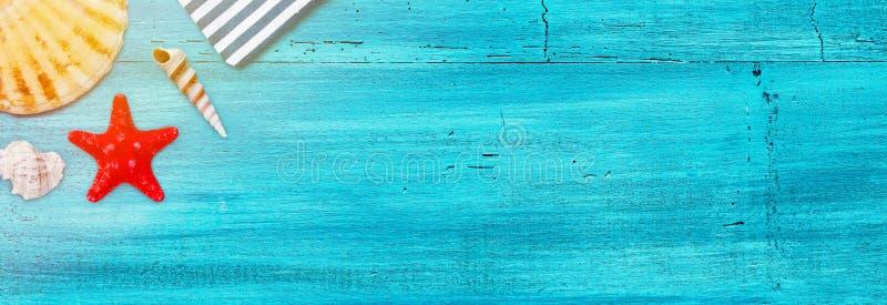 Θερινό έμβλημα του οστράκου κοχυλιών θάλασσας και των ψαριών αστεριών μπλε σε ξύλινο στοκ εικόνες με δικαίωμα ελεύθερης χρήσης