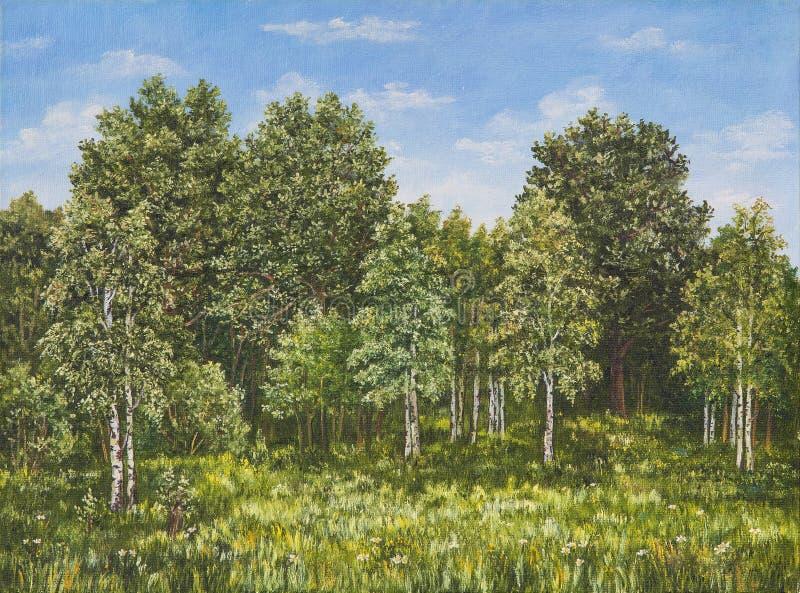 Θερινό αγροτικό τοπίο στη Ρωσία Ένας τομέας και ένα δάσος, μια υψηλή χλόη αφηρημένη αρχική ζωγραφική πετρελαίου καμβά ζωηρόχρωμη  στοκ φωτογραφία