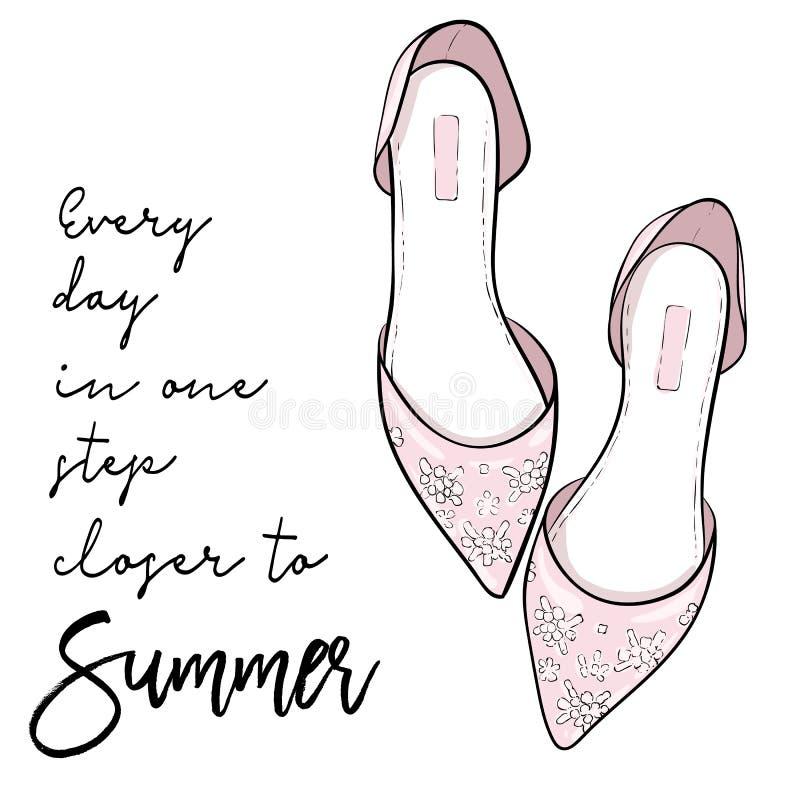 Θερινό απόσπασμα Κομψά παπούτσια μόδας, σανδάλια, διάνυσμα επιπέδων ελεύθερη απεικόνιση δικαιώματος