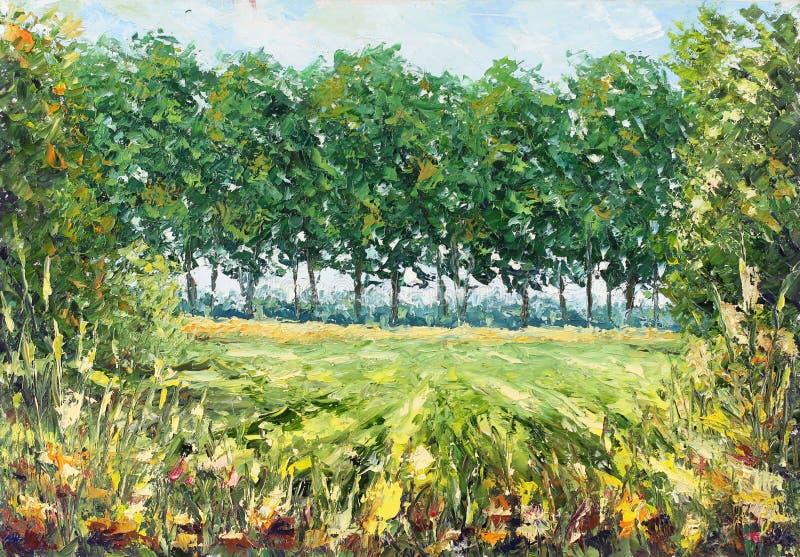 Θερινό δασικό ξέφωτο, πράσινα δέντρα, χλόη, βλάστηση διανυσματική απεικόνιση