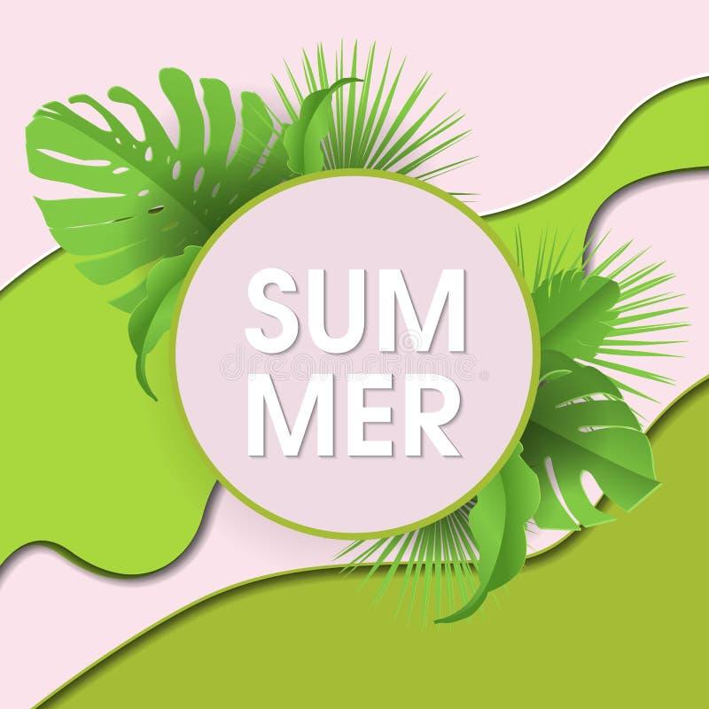 Θερινό αφηρημένο γεωμετρικό υπόβαθρο με τα φύλλα και τα σύννεφα φοινικών Τροπικό σκηνικό Έμβλημα πώλησης, αφίσα με τα φύλλα φοινι διανυσματική απεικόνιση