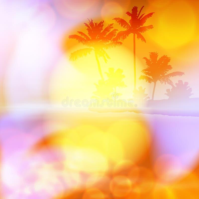 Θερινό ηλιοβασίλεμα θάλασσας με το φοίνικα και φως στο φακό απεικόνιση αποθεμάτων