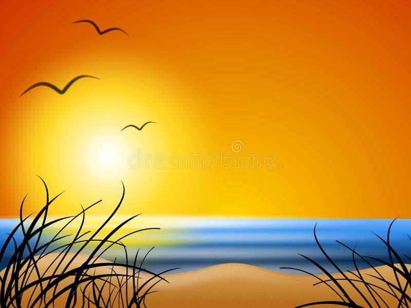 θερινό ηλιοβασίλεμα παραλιών ανασκόπησης απεικόνιση αποθεμάτων