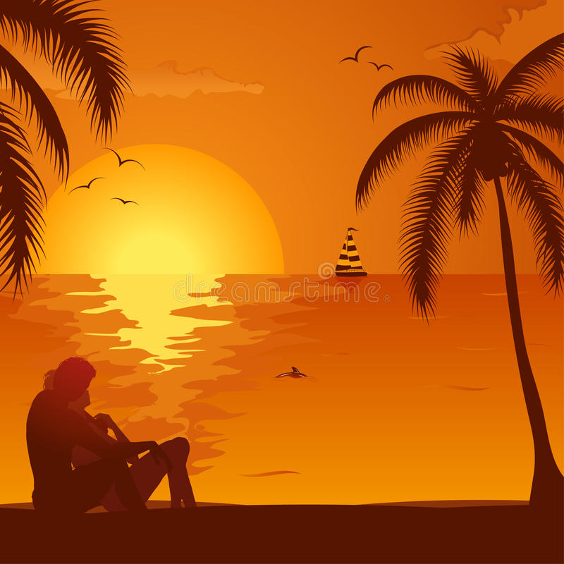 Θερινό ηλιοβασίλεμα με το ζεύγος ελεύθερη απεικόνιση δικαιώματος