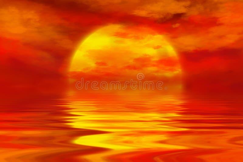 Θερινό ηλιοβασίλεμα πέρα από τον ωκεανό με τα θερμά σύννεφα και το χρυσό ήλιο διανυσματική απεικόνιση