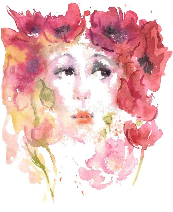 Θερινό κορίτσι σχεδίων Watercolor των παπαρουνών διανυσματική απεικόνιση