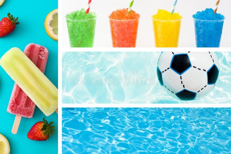 Θερινό κολάζ με τα popsicles, slushies, την πισίνα και τη σφαίρα στοκ φωτογραφία