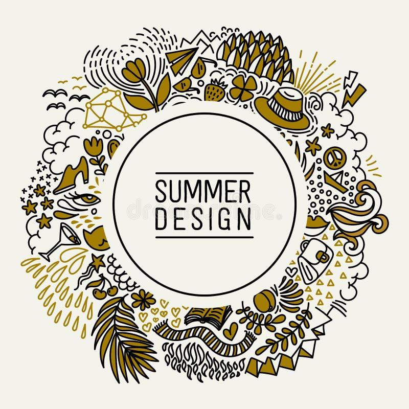 Θερινό μαύρο και χρυσό χέρι που σύρεται γύρω από τη λεπτή κάρτα γραμμών Εποχιακός χαιρετισμός με το καλοκαίρι λέξης Θερινή κάρτα  απεικόνιση αποθεμάτων