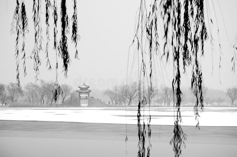 Θερινό παλάτι μετά το χιόνι στοκ εικόνες
