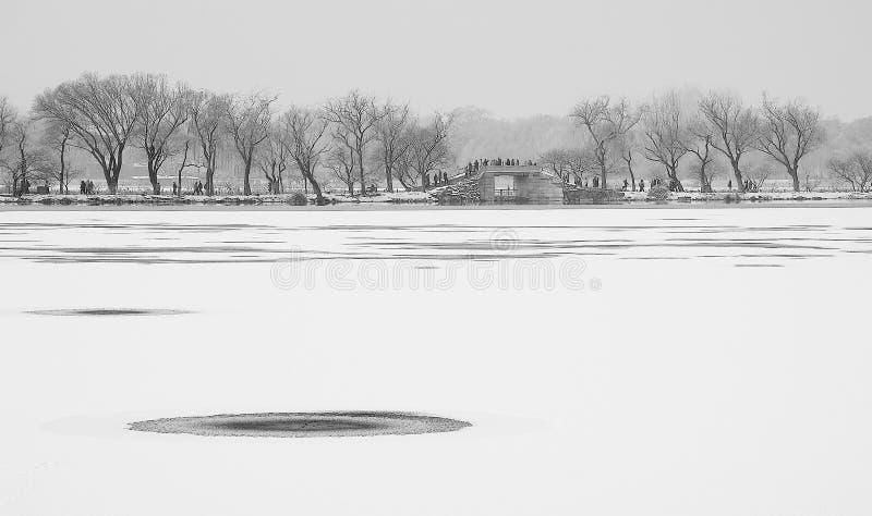Θερινό παλάτι μετά το χιόνι στοκ φωτογραφία