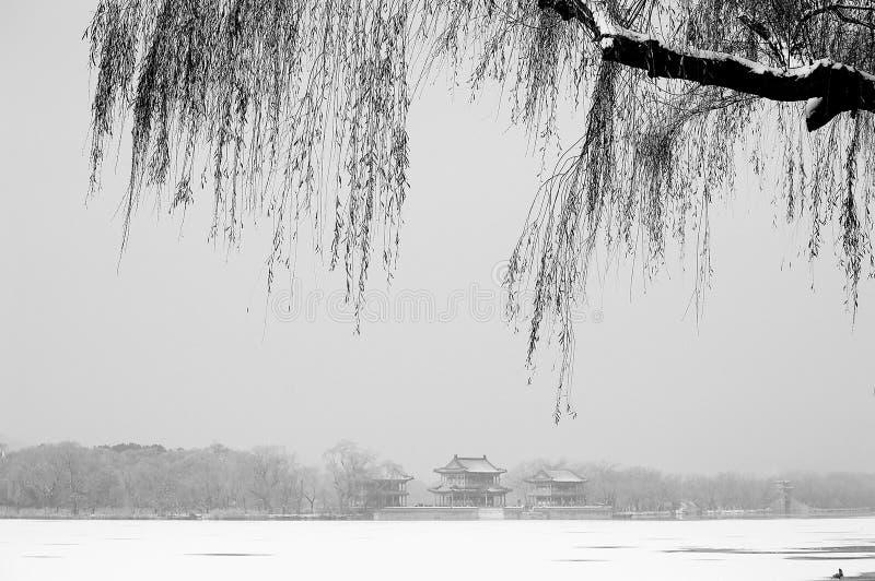Θερινό παλάτι μετά το χιόνι στοκ εικόνα