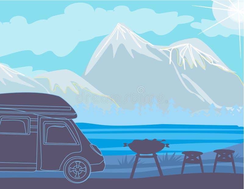 Θερινό πικ-νίκ στα βουνά διανυσματική απεικόνιση