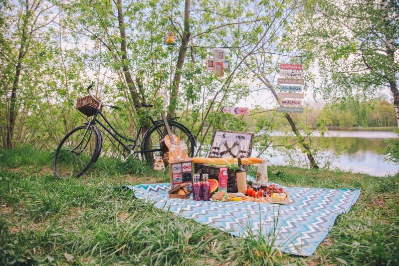 Θερινό πικ-νίκ σχεδίου στη φύση Στο καρό είναι ένα καλάθι των τροφίμων στοκ φωτογραφία με δικαίωμα ελεύθερης χρήσης