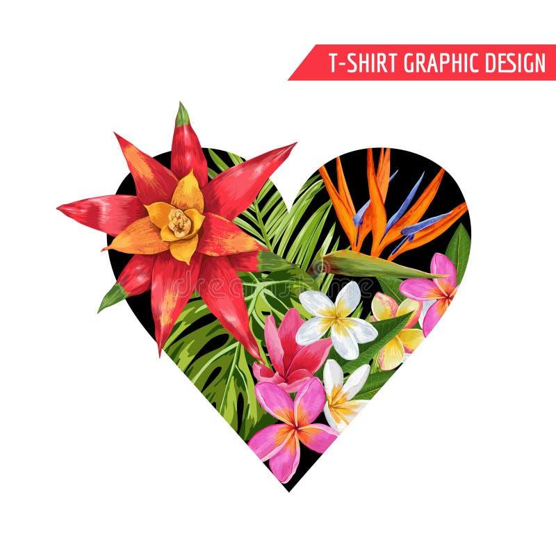 Θερινό σχέδιο άνοιξης καρδιών αγάπης ρομαντικό Floral με τα ρόδινα λουλούδια Plumeria για τις τυπωμένες ύλες, ύφασμα, μπλούζα, αφ διανυσματική απεικόνιση