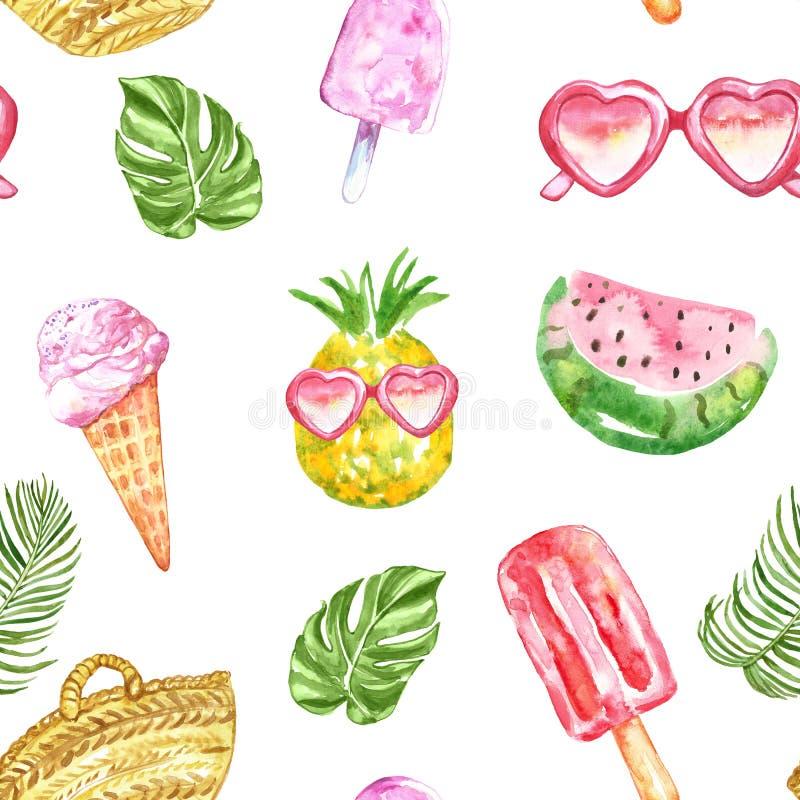 Θερινό σχέδιο Watercolour με τους νωπούς καρπούς, το παγωτό, τα γυαλιά ηλίου, popsicles και τα τροπικά φύλλα στο άσπρο υπόβαθρο διανυσματική απεικόνιση