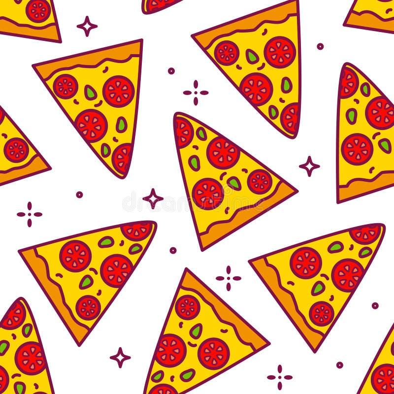 Θερινό σχέδιο με τα κομμάτια κινούμενων σχεδίων της πίτσας Λεπτό επίπεδο σχέδιο γραμμών Υπόβαθρο για το γρήγορο φαγητό απεικόνιση αποθεμάτων