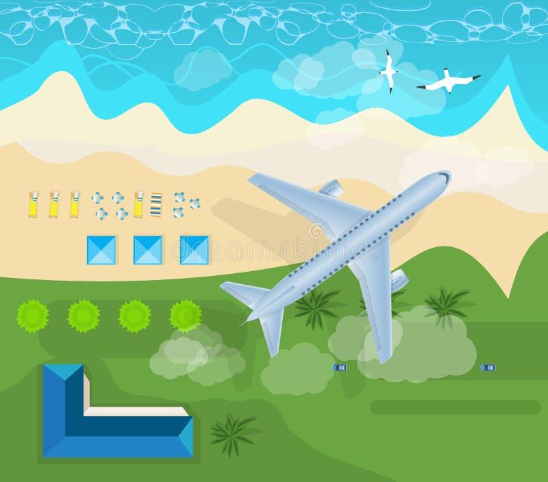 Θερινό ταξίδι στο αεροπλάνο στον ουρανό, παραλία Διακοπές στη θάλασσα διανυσματική απεικόνιση