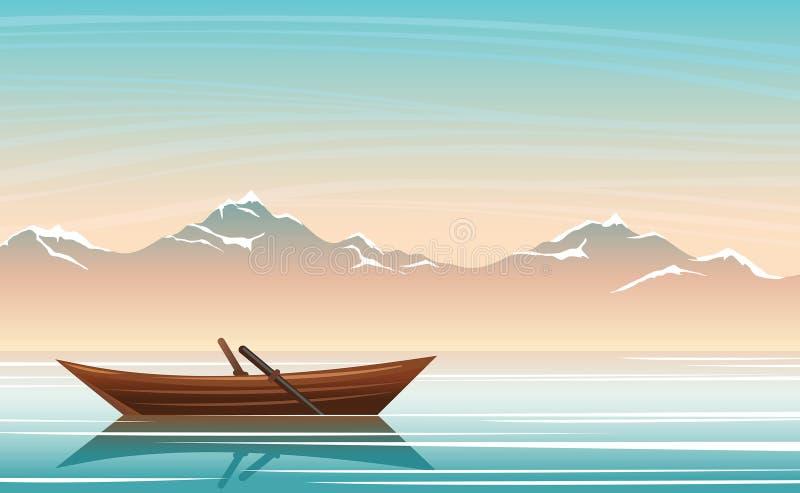 Θερινό τοπίο - βάρκα, λίμνη και βουνά Ουρανός ανατολής ελεύθερη απεικόνιση δικαιώματος