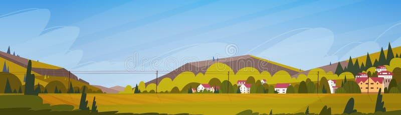 Θερινό τοπίο βουνών φύσης με το μικρό του χωριού οριζόντιο έμβλημα διανυσματική απεικόνιση