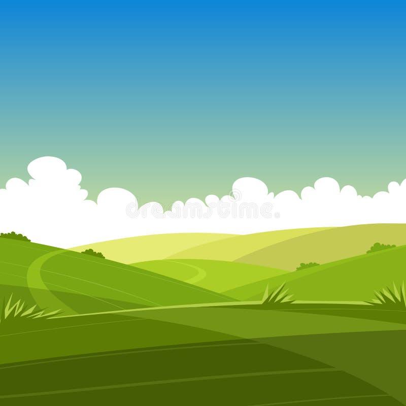 Θερινό τοπίο κινούμενων σχεδίων διανυσματική απεικόνιση