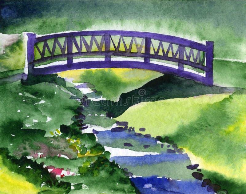 Θερινό τοπίο με έναν ποταμό και μια γέφυρα πέρα από το απεικόνιση αποθεμάτων