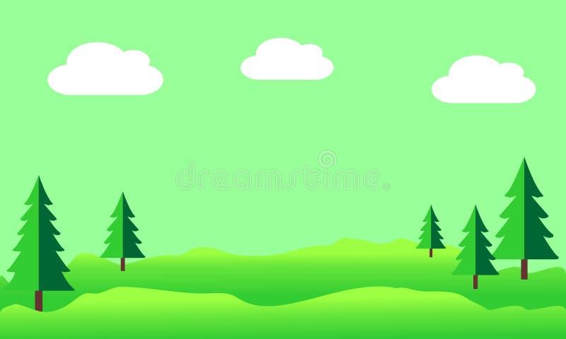 Θερινό τοπίο με τους λόφους και τα δέντρα πεύκων ελεύθερη απεικόνιση δικαιώματος