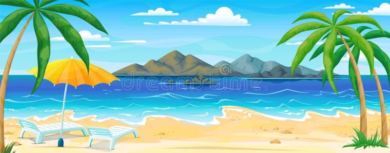 Θερινό τοπίο παραλιών θάλασσας Ωκεάνιο πανόραμα ακτών με την άμμο νερού και τους φοίνικες, έμβλημα ταξιδιού διακοπών Διάνυσμα ορι ελεύθερη απεικόνιση δικαιώματος