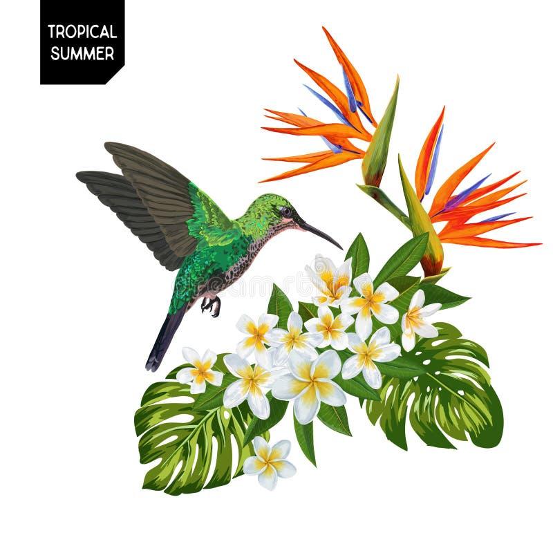 Θερινό τροπικό σχέδιο με το κολίβριο και τα εξωτικά λουλούδια Floral υπόβαθρο με τα τροπικά φύλλα πουλιών, Plumeria και φοινικών διανυσματική απεικόνιση