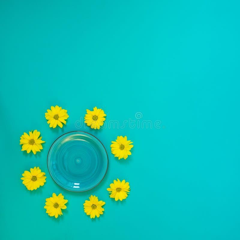 Θερινό υπόβαθρο - ένα τυρκουάζ πιάτο που περιβάλλεται από τα κίτρινα chrys στοκ εικόνες