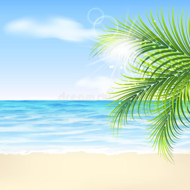 Θερινό υπόβαθρο με τα φύλλα, την παραλία και τη θάλασσα φοινικών διανυσματική απεικόνιση