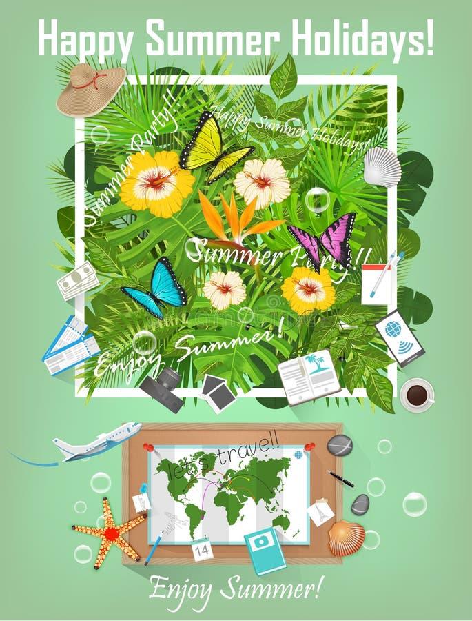 Θερινό υπόβαθρο με τις τροπικά εγκαταστάσεις και τα λουλούδια Ταξίδι Infographic Προετοιμασία για το διάνυσμα ταξιδιού διανυσματική απεικόνιση