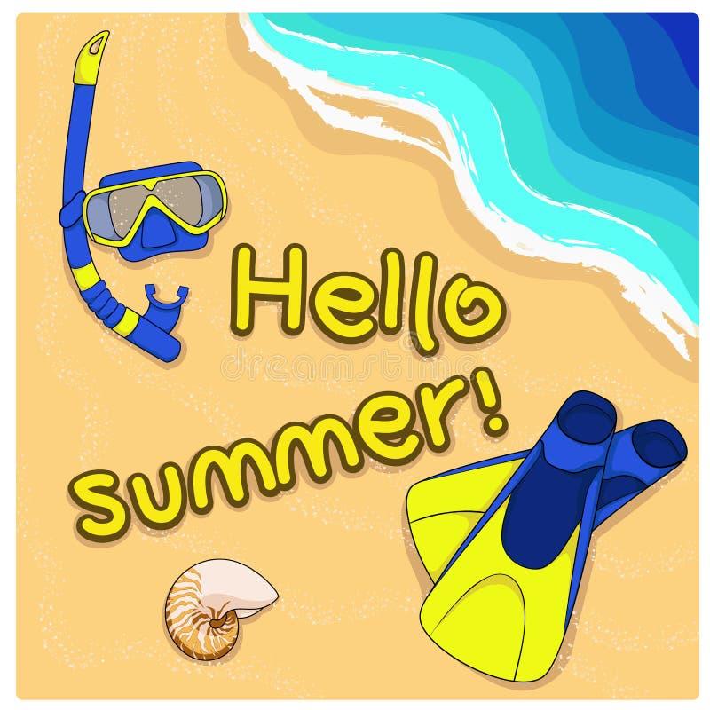Θερινό υπόβαθρο με το κοχύλι, τα βατραχοπέδιλα και τη μάσκα στην άμμο απεικόνιση αποθεμάτων