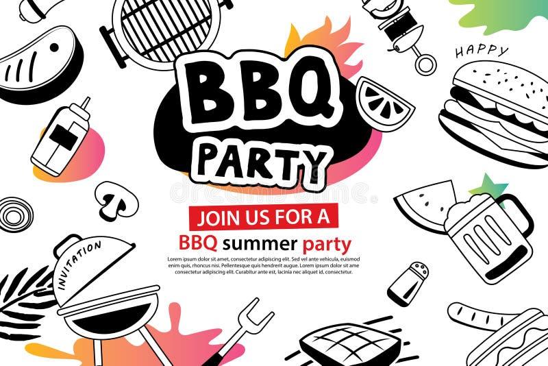 Θερινό BBQ κόμμα στο σύμβολο doodles και εικονίδιο αντικειμένων για το backgrou ελεύθερη απεικόνιση δικαιώματος