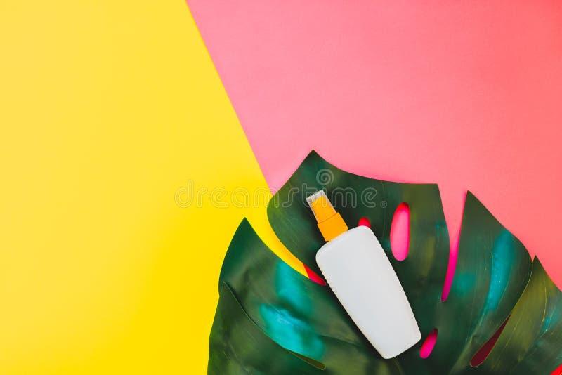 Θερινό sunscreen κενό πρότυπο μπουκαλιών στοκ εικόνα με δικαίωμα ελεύθερης χρήσης