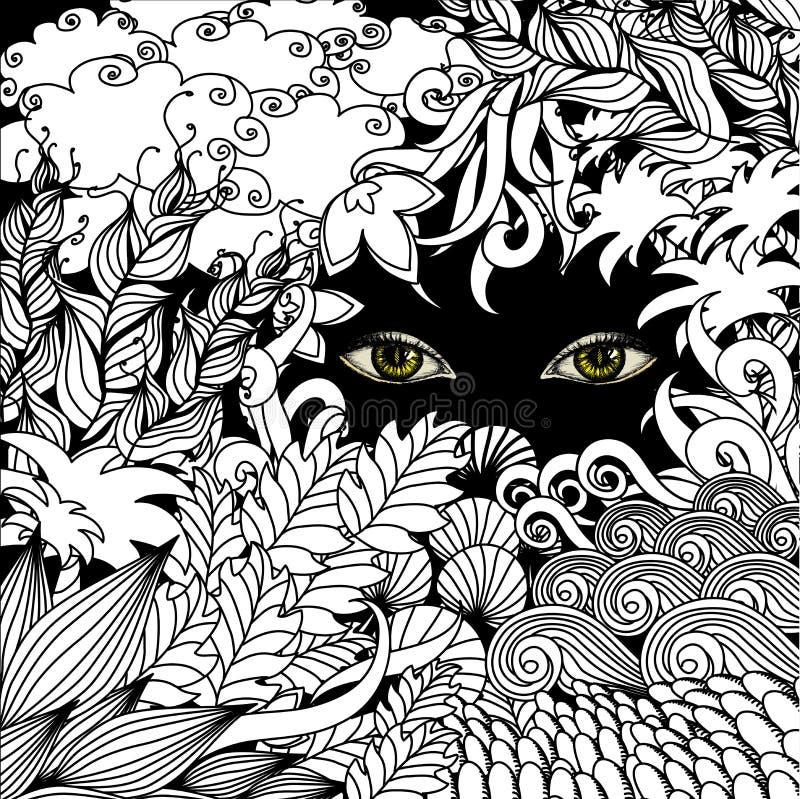 Θερινό zentangle floral υπόβαθρο και τρομακτικό να κοιτάξει επίμονα ματιών ελεύθερη απεικόνιση δικαιώματος