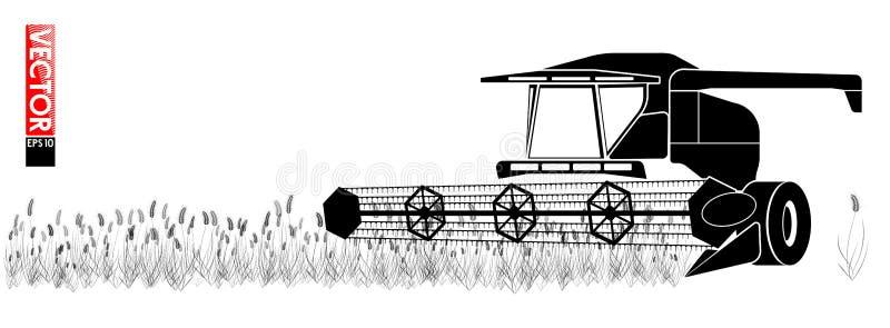 Θεριστική μηχανή που συλλέγει το σιτάρι στον τομέα Μια απλή μαύρη περίληψη Για ένα άρθρο σχετικά με τη γεωργία διανυσματική απεικόνιση