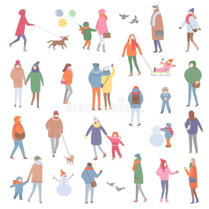 Θερμά ενδύματα χειμώνα και φθινοπώρου, περπάτημα ανθρώπων διανυσματική απεικόνιση