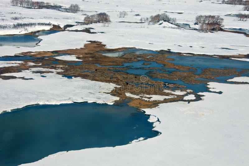 Θερμές πηγές Caldera του ηφαιστείου Uzon Kamchatka στοκ φωτογραφίες