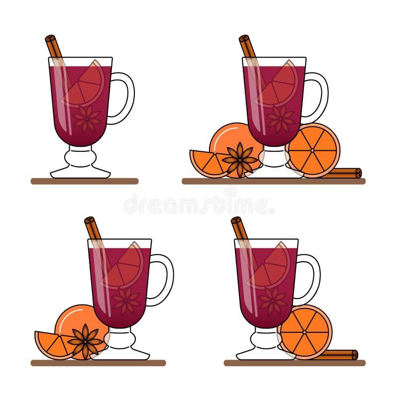Θερμαμένο έμβλημα κρασιού Σύνολο καυτών γυαλιών με το κόκκινο κρασί, κανέλα, πορτοκάλι, anice αστεριών διανυσματική απεικόνιση