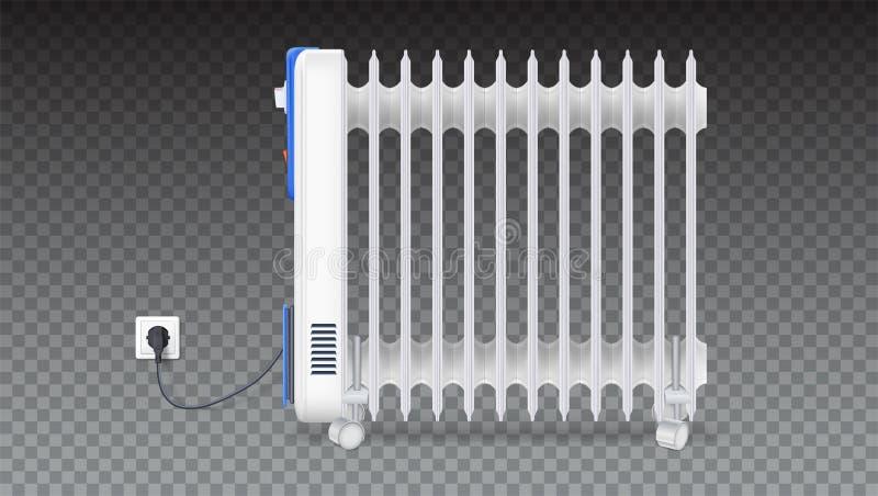 Θερμαντικό σώμα πετρελαίου που απομονώνεται στο οριζόντιο διαφανές υπόβαθρο Άσπρο, ηλεκτρικό πετρέλαιο - γεμισμένη θερμάστρα στις ελεύθερη απεικόνιση δικαιώματος