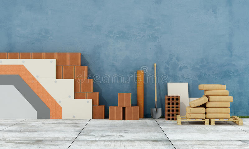Θερμική μόνωση ενός παλαιού τοίχου στοκ εικόνες με δικαίωμα ελεύθερης χρήσης