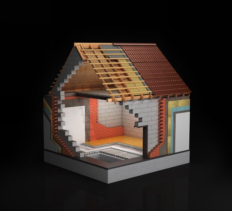 Θερμική μόνωση, η έννοια της κατασκευής τρισδιάστατη απόδοση ενός σπιτιού στο στάδιο της κατασκευής, που απομονώνεται ελεύθερη απεικόνιση δικαιώματος