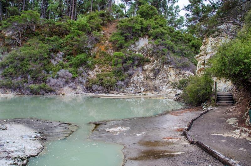 Θερμική χώρα των θαυμάτων wai-ο-Tapu στοκ εικόνες