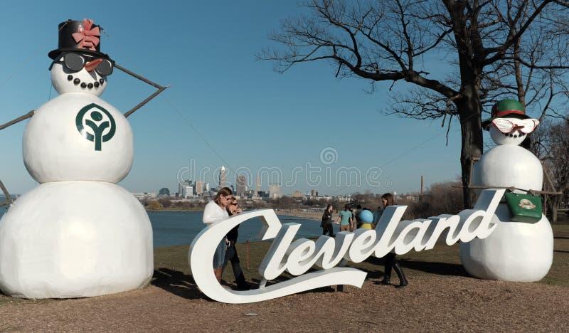 Θερμοκρασίες υψηλότερου σημείου τιμής πριονιών του Κλίβελαντ, Οχάιο, ΗΠΑ στις 18 Φεβρουαρίου 2017 στοκ εικόνες
