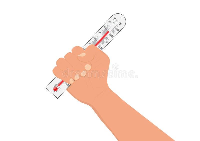 Θερμόμετρο εκμετάλλευσης χεριών, έννοια κλιματικής αλλαγής διανυσματική απεικόνιση