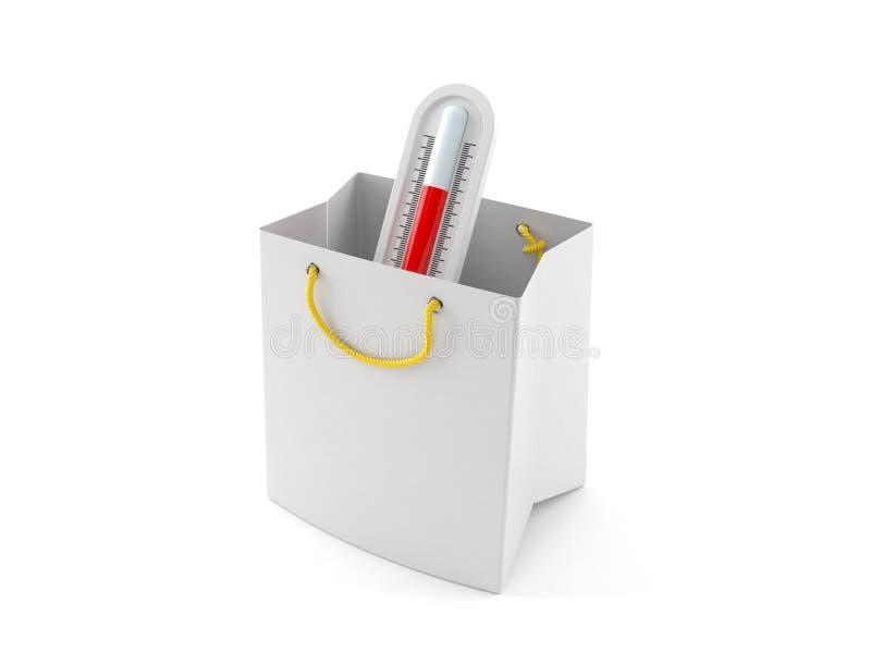 Θερμόμετρο μέσα στην τσάντα αγορών διανυσματική απεικόνιση